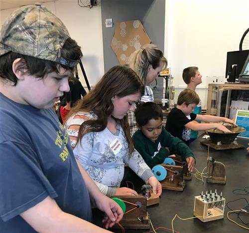 Students at OMSI - hands on learning
